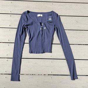 Hollister Navy Blue Crop Top